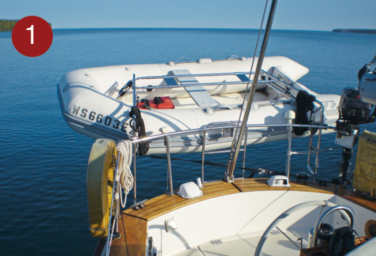 Davits are a good way to keep the dinghy safe and ready to use on short notice