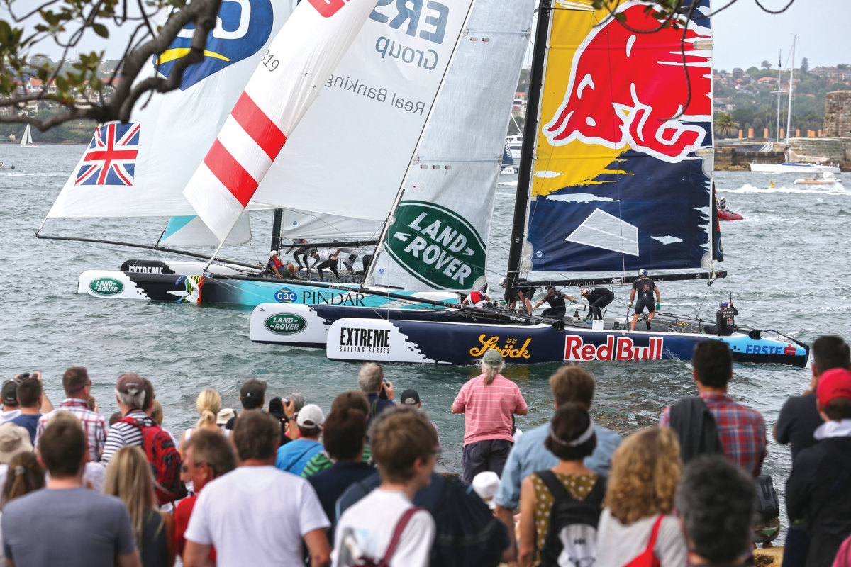 a closeup view of the fleet in Sydney Harbor midway through the 2015 Extreme Sailing Series. Photo courtesy of Lloyd Images/Extreme Sailing Series