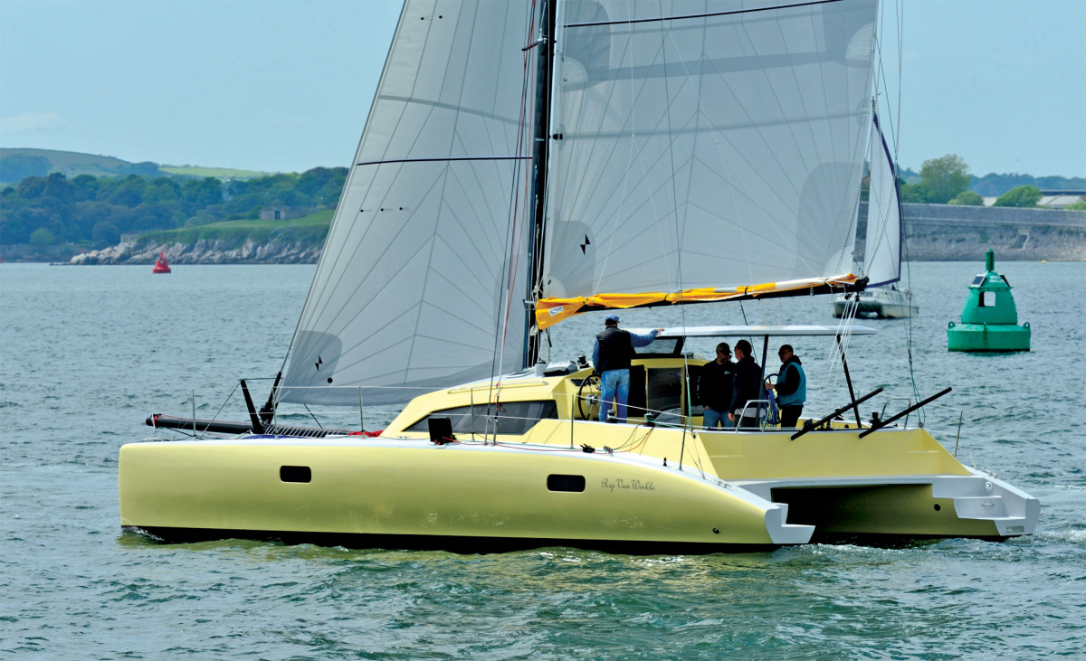 The Dazcat 1160's performance potential is evident in her thin hulls and daggerboards. Photo courtesy of Dazcat