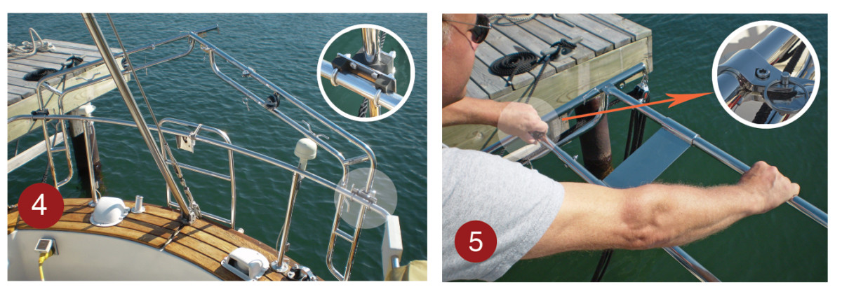 4. After the davit arms were attached to the base they were secured to the pulpit with a bracket and U-bolts (inset) . 5. The optional double strut stiffens the system and is attached to the arms with quick release pins (inset)