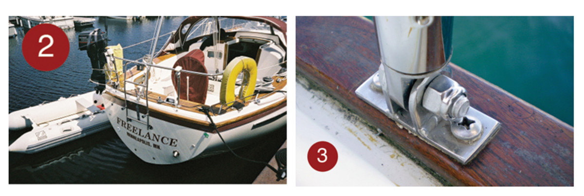 2. The transom of the author's boat before he mounted a pair of davits on the stern cap rail.