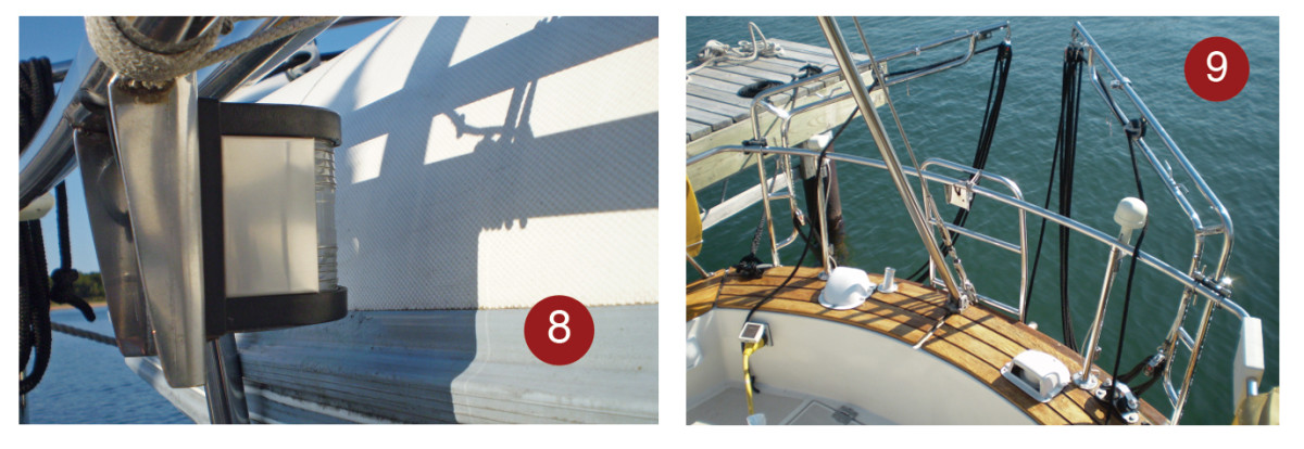 8. When the dinghy was hoisted in place on the davits, it covered the stern light, which was relocated to a different position. 9. The finished dinghy davits looked as though they had always been there. Remember to pull the dinghy's drain plug when it is out of the water.