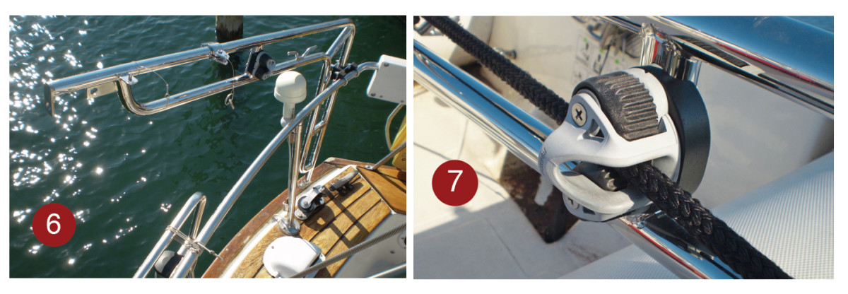 6. When the double support strut is removed, it is easy to swing the davits into the transom, out of the way. 7. Optional cam cleats make it easier to raise and lower the dinghy, particularly when working singlehanded.