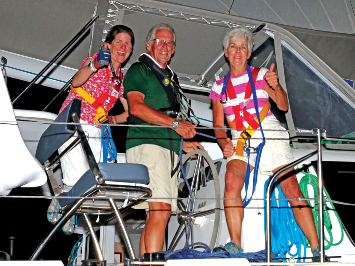The author and her crew are all smiles at the end of the 2014 ARC