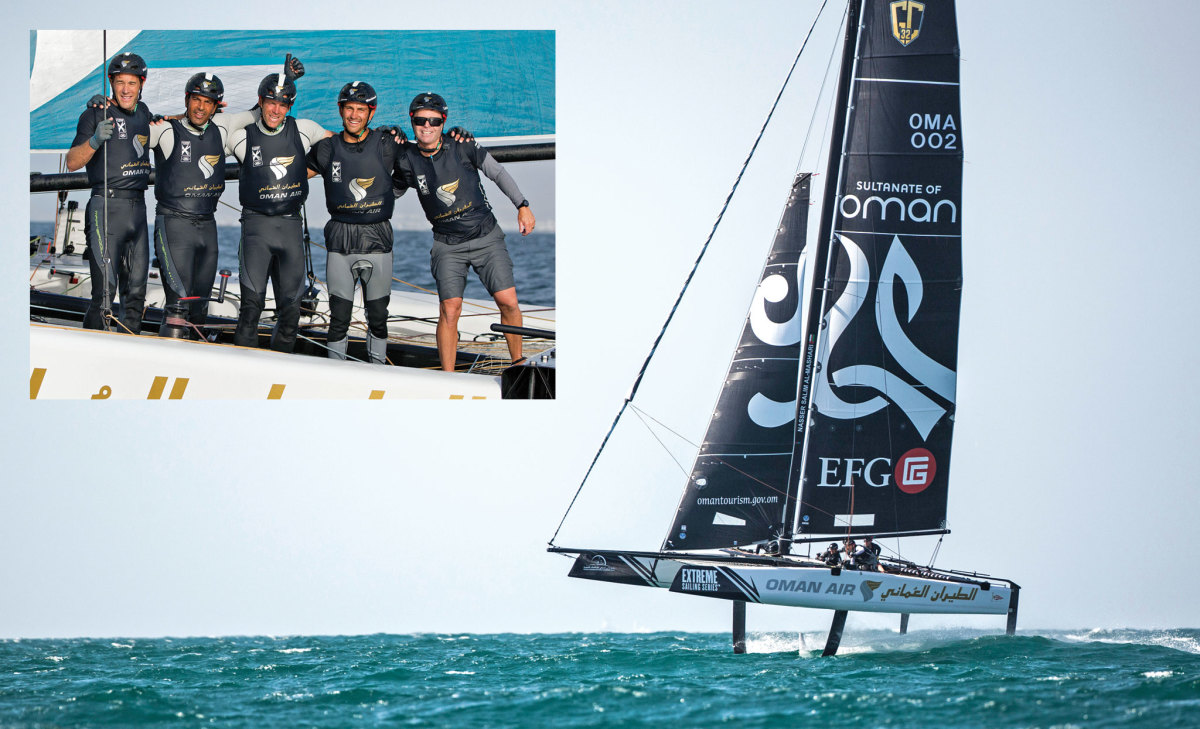 The GC32 Oman Air takes flight on its home waters; Oman Air's U.S. skipper Morgan Larson (at right) and crew celebrate their win in the Extreme Series's 2016 Oman opener (inset). Photos courtesy of Lloyd Images/Extreme Sailing Series