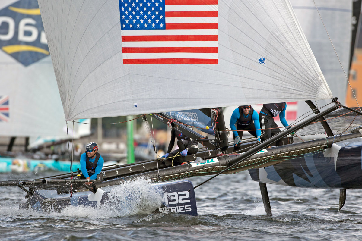 Taylor Canfield's US One Team aboard their M32 during a regatta in Stockholm, Sweden. Photo courtesy of M32 Series