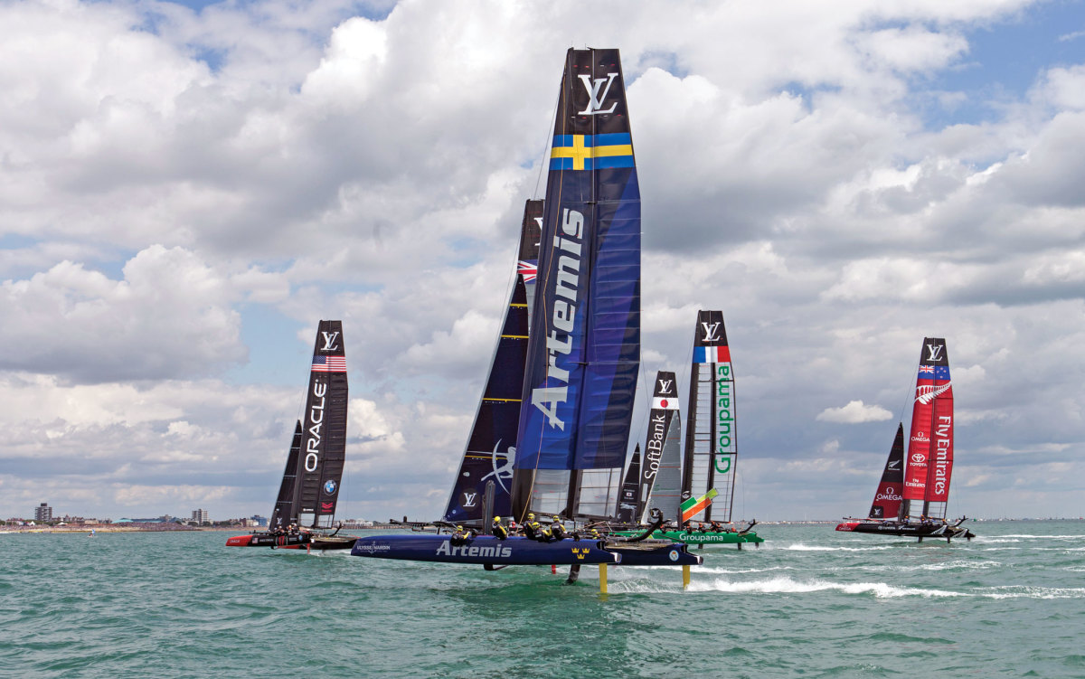 A covey of America's Cup hopefuls compete at last year's AC45 Louis Vuitton World Series regatta in Bermuda. Photo courtesy of Oracle Team USA/Guilain Grenier