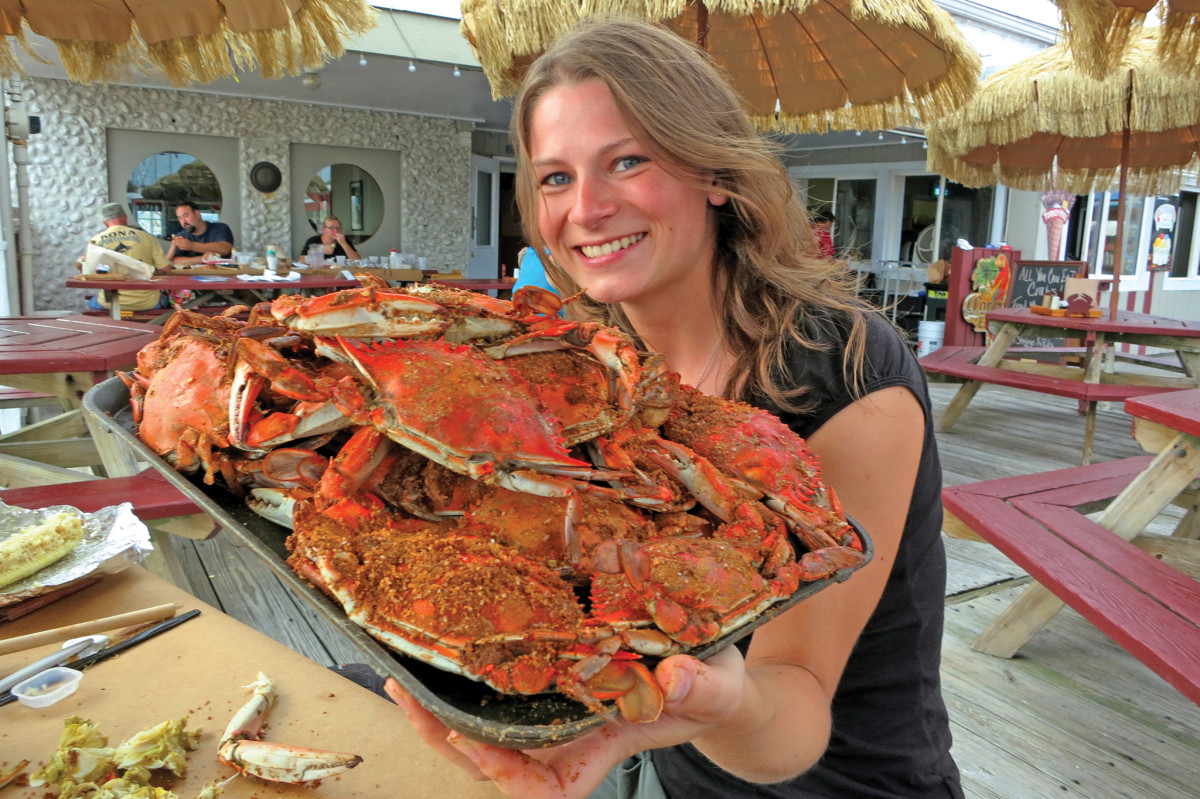A hungry sailor prepares to feast on crab at the Watermans' Crabhouse in Rock Hall