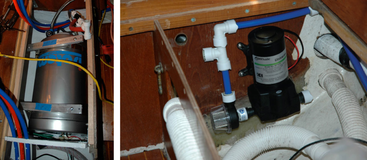 Many water heaters (left) are equipped with magnesium anodes. These should be checked annually. Check the wiring on your pressure pump (right) and make sure it is firmly mounted in place