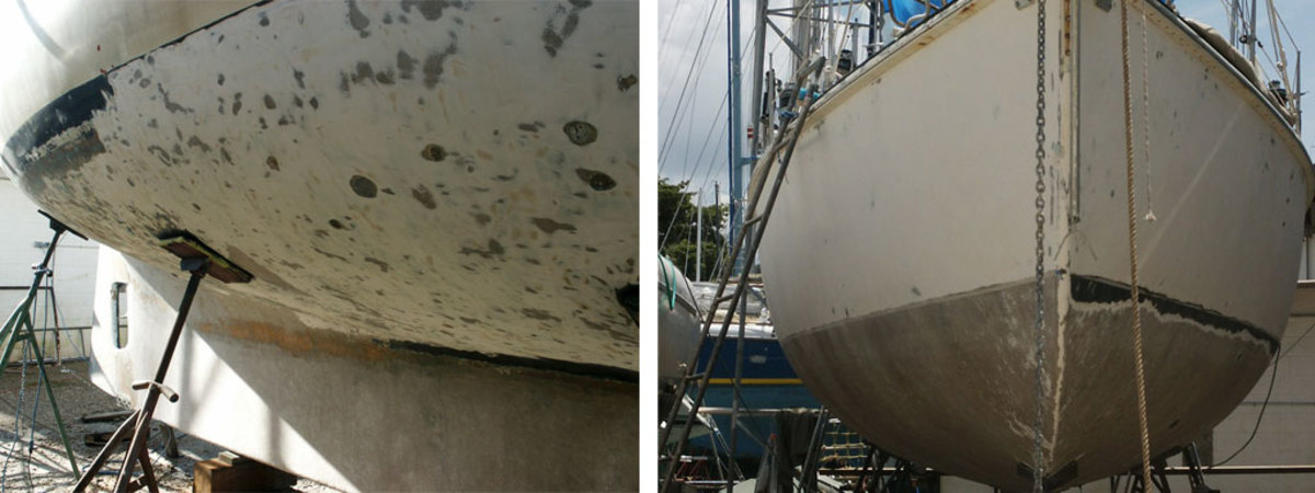We dished out craters to remove all wet material (left), We saved the waterline for last and completed the starboard side first (right)
