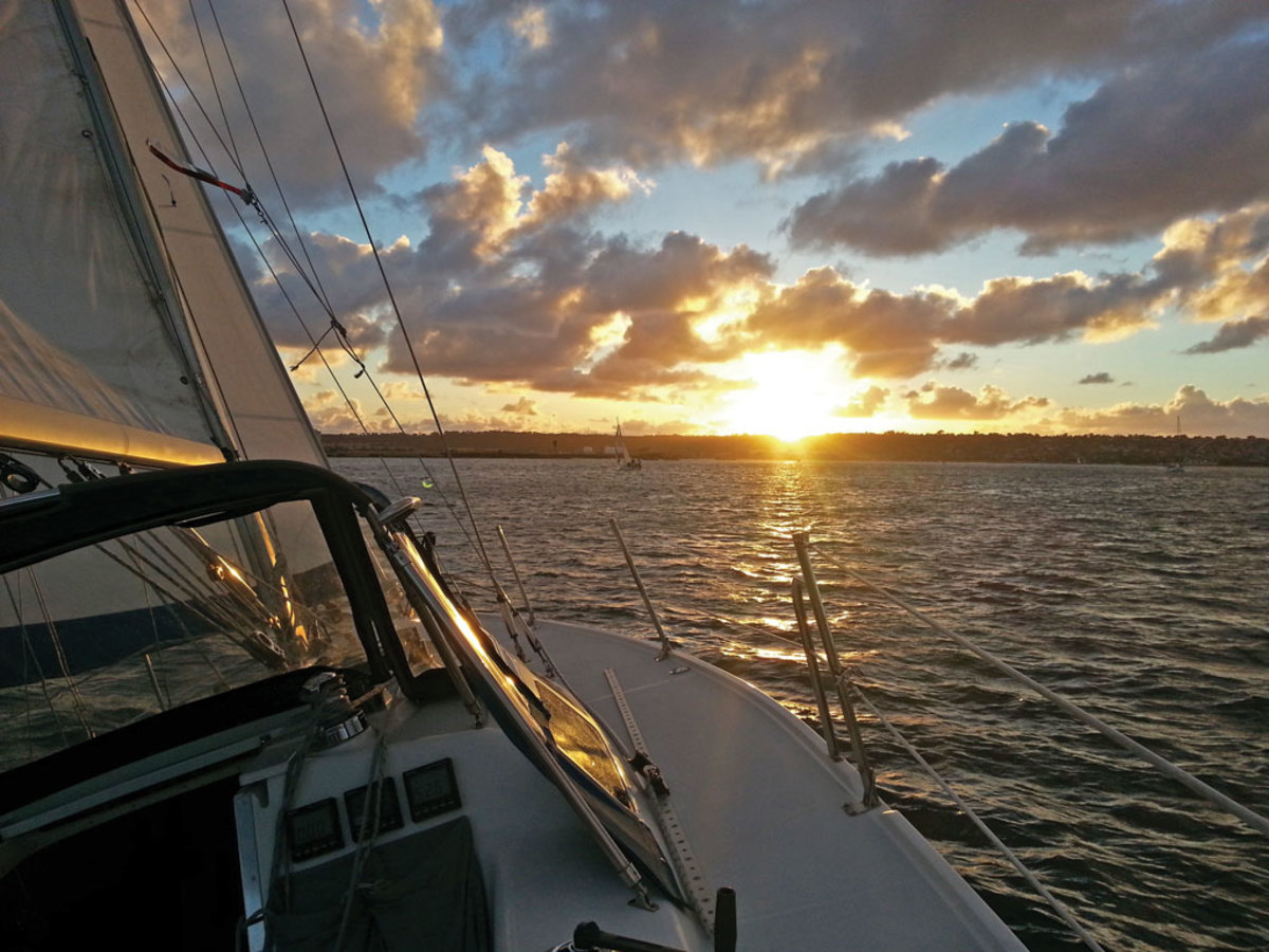 Here is a shot from the deck of my boat Intuition taken during a sunset sail on San Diego bay the other night. —Douglas Carrell, San Diego, CA