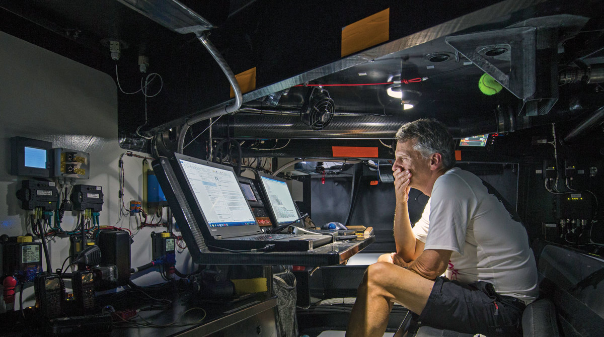 the boat's nav station is all business. Photo courtesy of Rolex SA space.