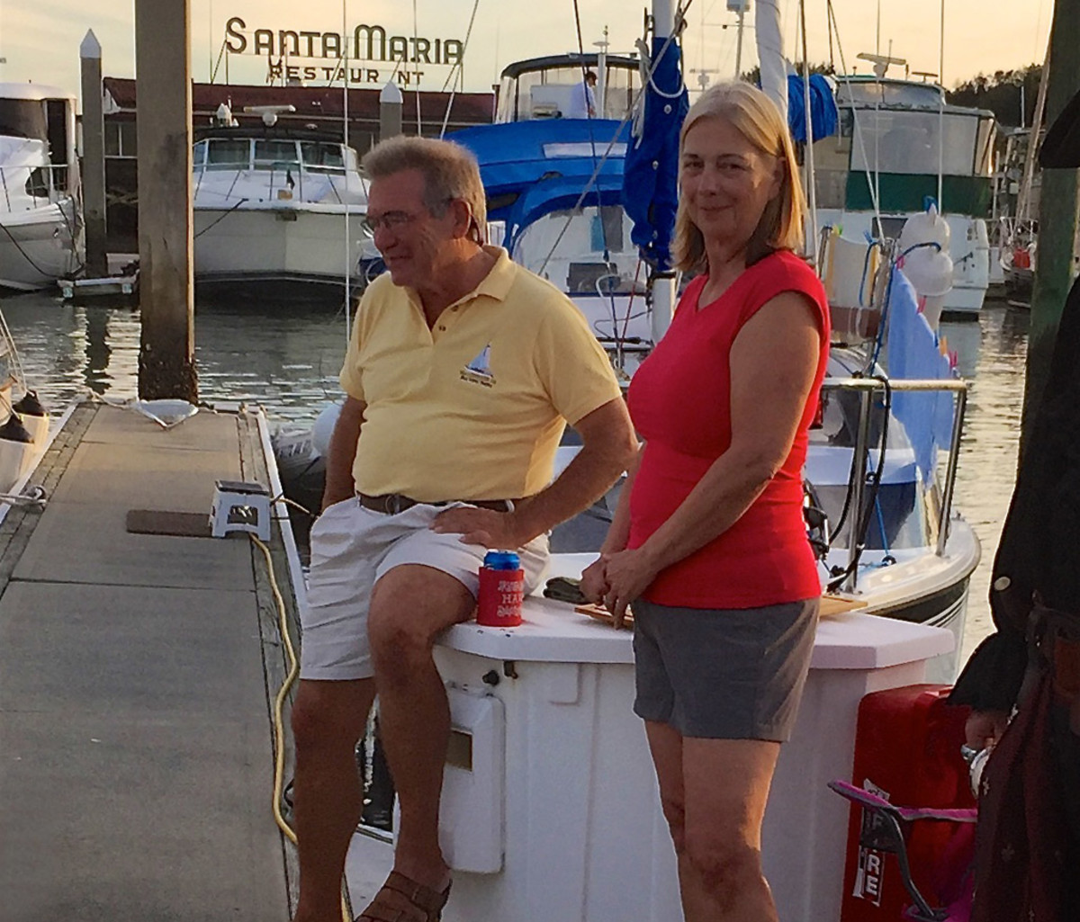 Kirk and Melba contemplate their next journey from the dock in St. Augustine, Florida