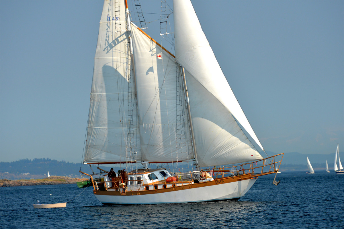 Here is the 60ft schooner Statia sailing off the southern tip of Vancouver Island, Canada. —Ken Pfister