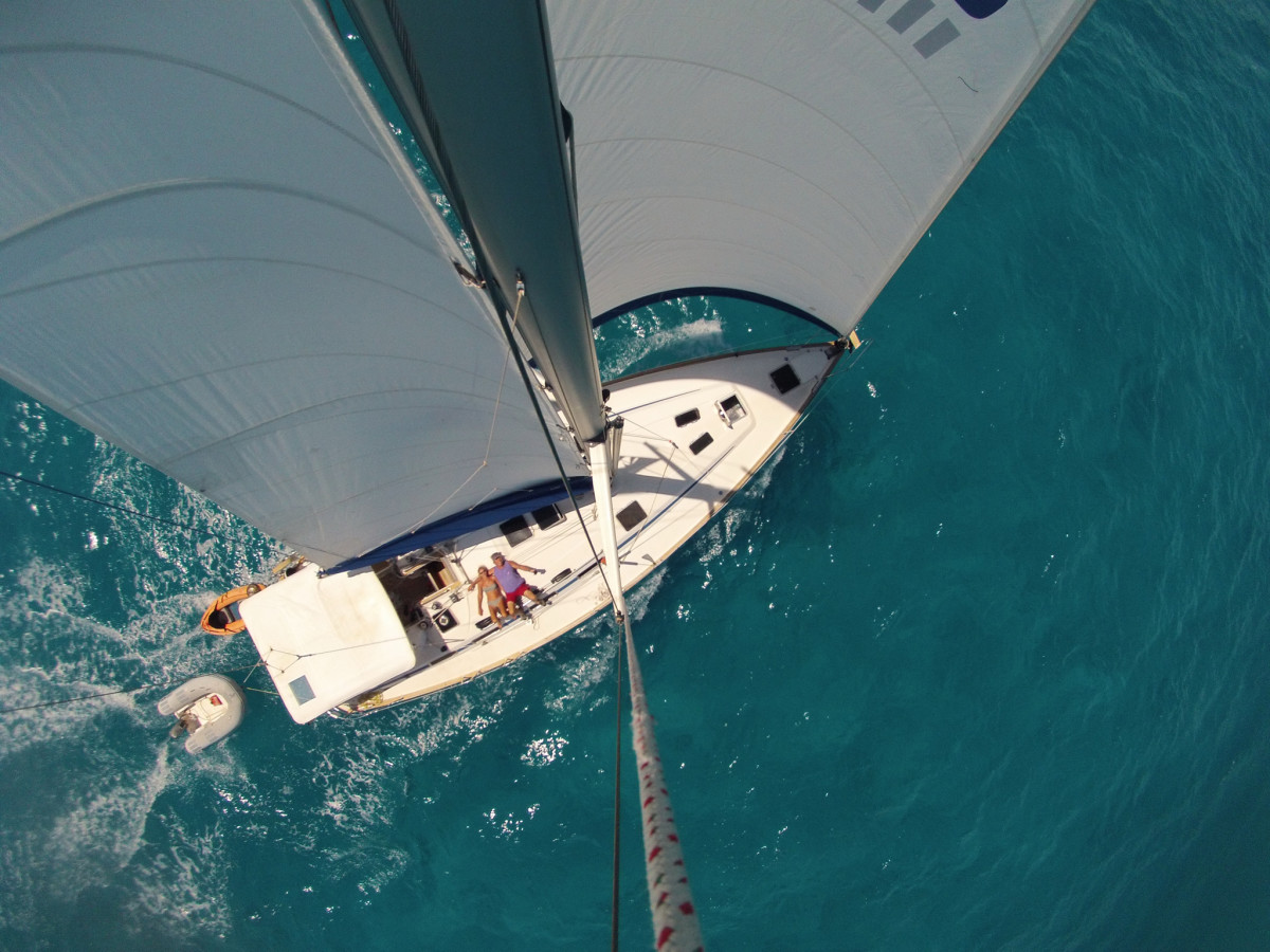 """This was taken during a """"rough sail"""" from Tortola to Anegada in the BVIs aboard our Bavaria 50, Moby. —Pete & Lyn Pierce"""