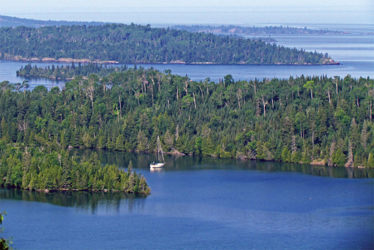 Finding room in the anchorages off Isle Royale is seldom a problem