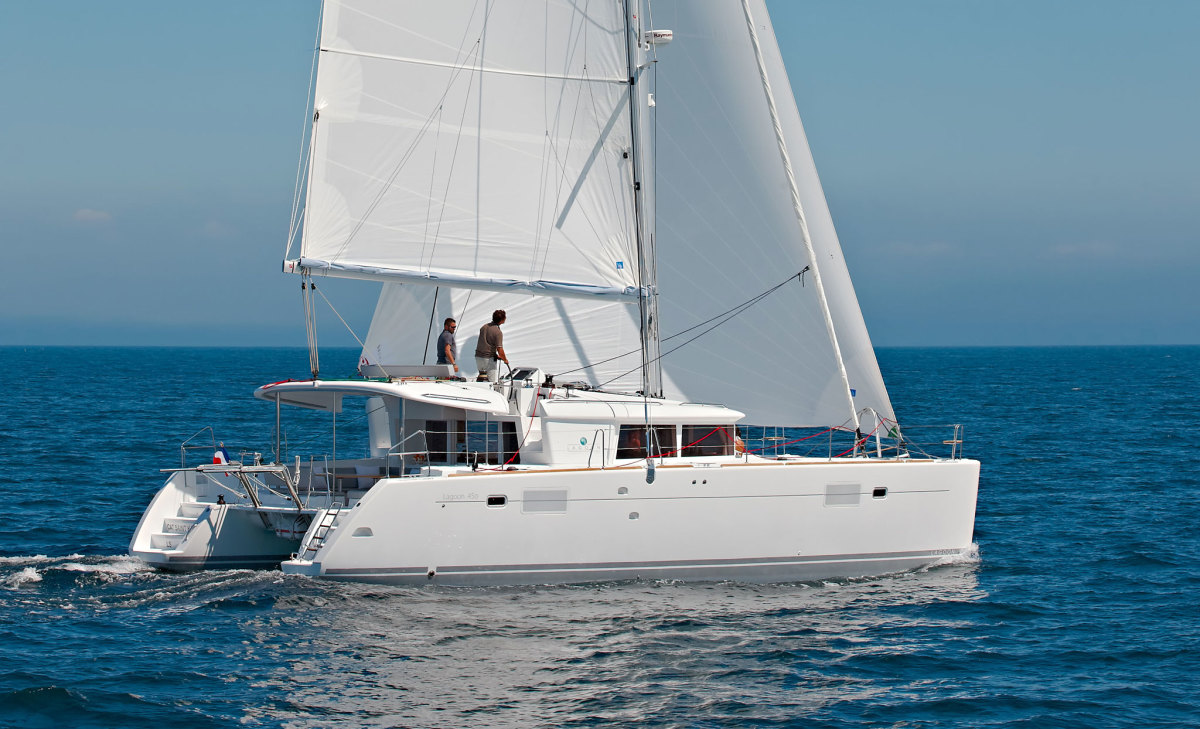 Flybridge helms are increasingly popular. Photo Courtesy of Lagoon