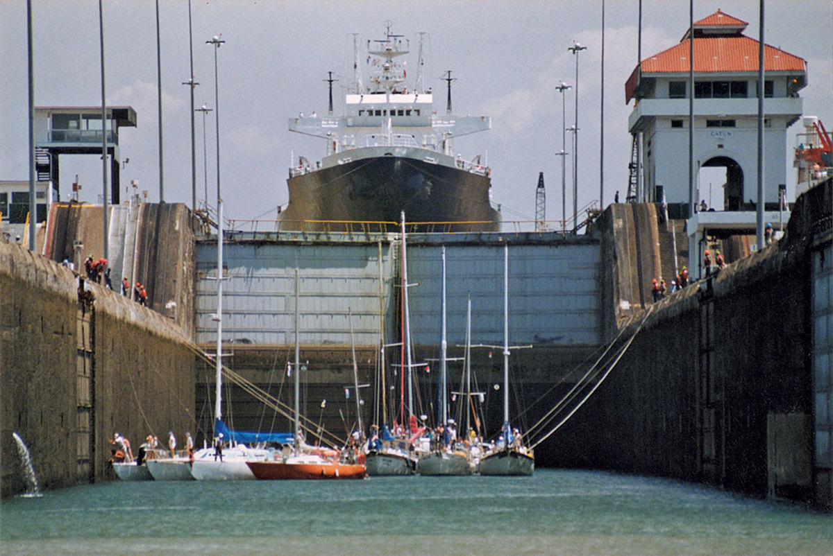 I photographed our exit from the Gatun Locks in the Panama Canal. And we thought our 52ft cutter was big —John Calvano