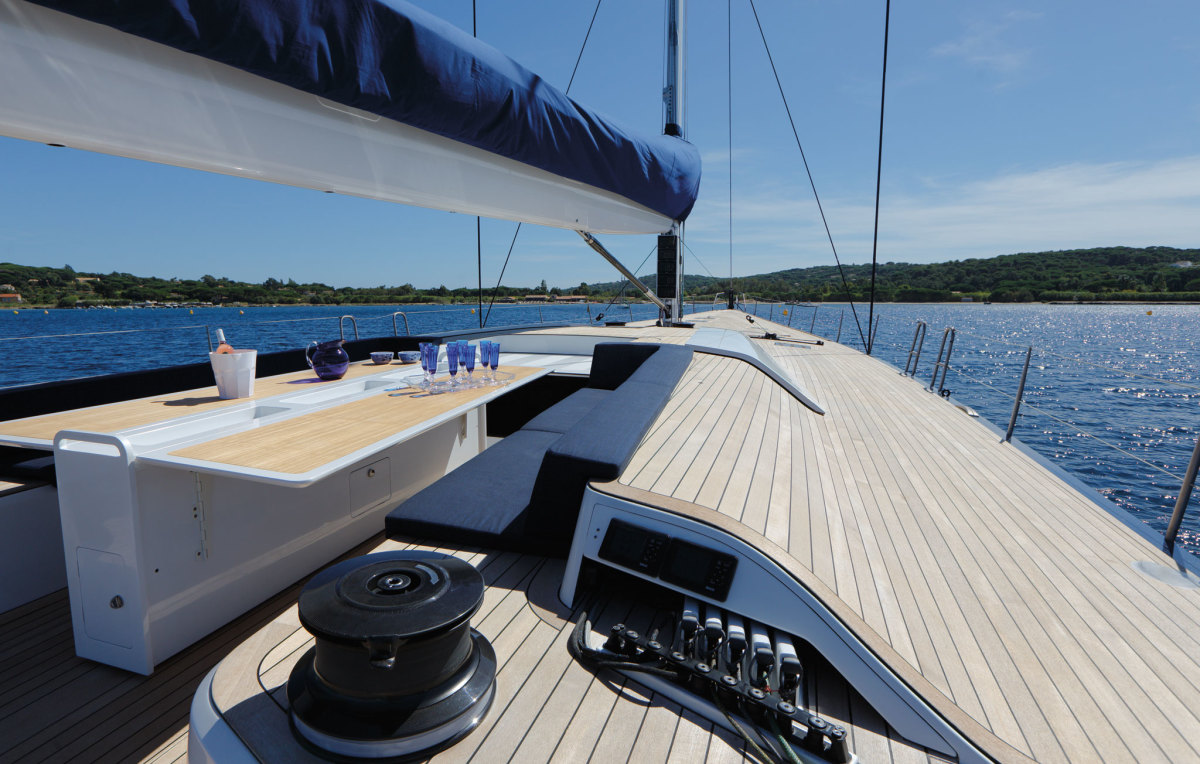 In cruising mode, Magic Carpet³ offers plenty of comfort as well as speed. Photo courtesy of reichel/pugh yacht design