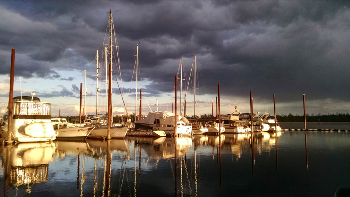 Here's a picture just before a recent storm at Steamboat Landing Marina on the Columbia River in Washington. —Todd Benson