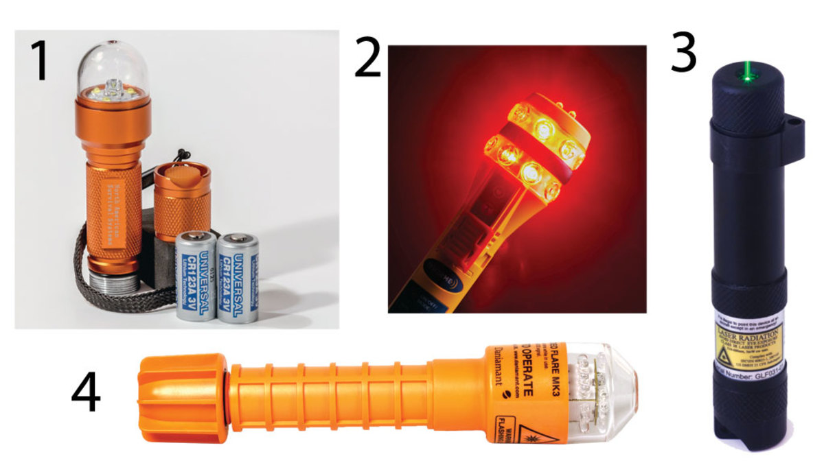 1) EF-20A-1 LED Strobe from North American Survival Systems. 2) The Ocean Signal RescueME EDF1. 3) The Green Rescue Laser Flare from Greatland Laser. 4) The Odeo MK3 LED flare