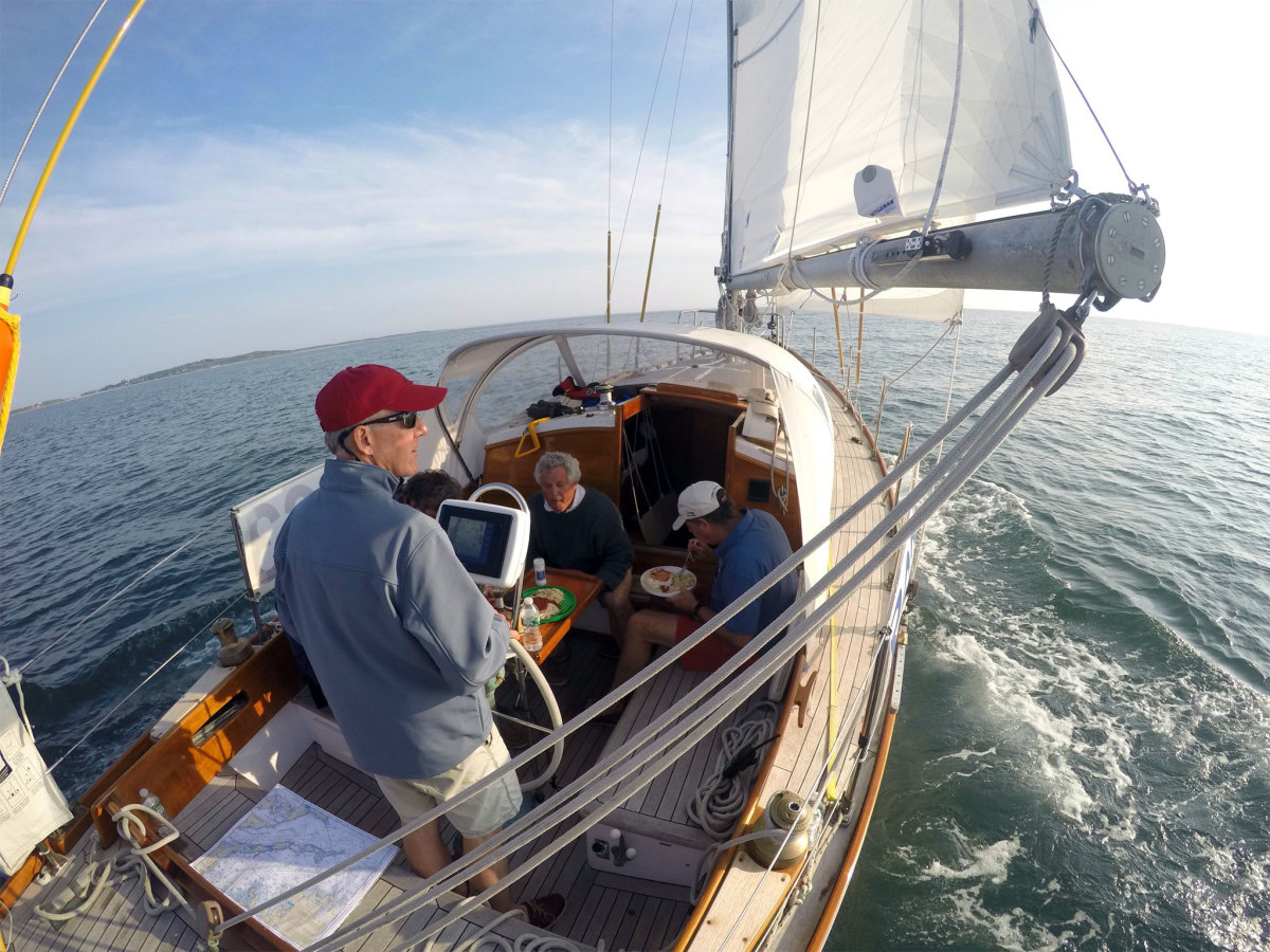 First night of the race, sailing out of Buzzard's Bay while enjoying a relaxing dinner in the cockpit