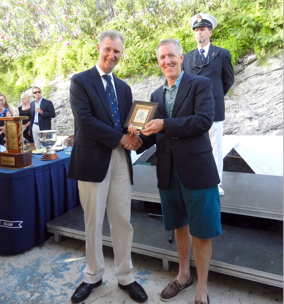 Author receiving his Navigator's award from the Governor of Bermuda