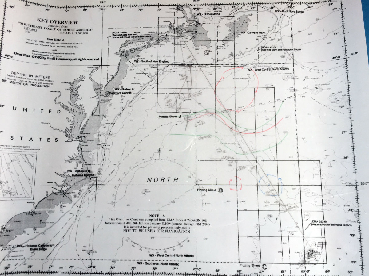 Navigator's ocean plotting sheet for the race
