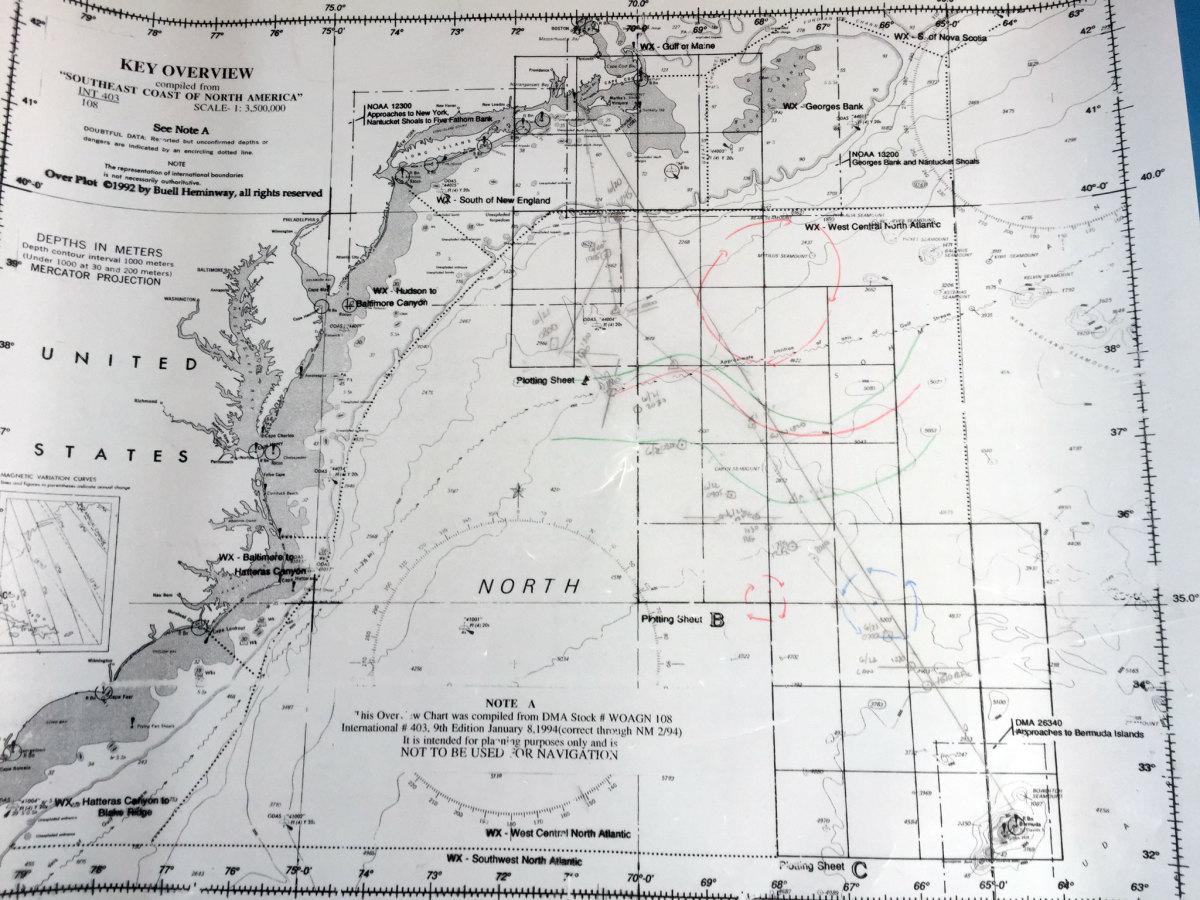 Navigator's ocean plotting sheet for the race