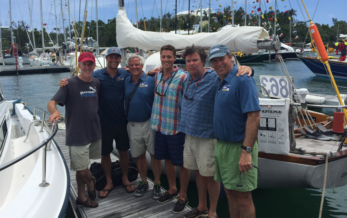 "Crew of ""Ti"" on the dock in Bermuda after the race"