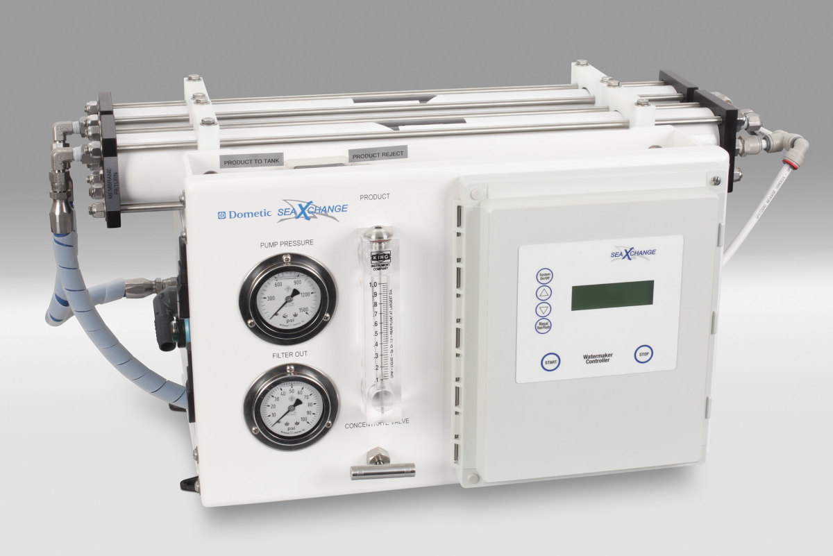 A Dometic Sea Xchange watermaker in its frame configuration