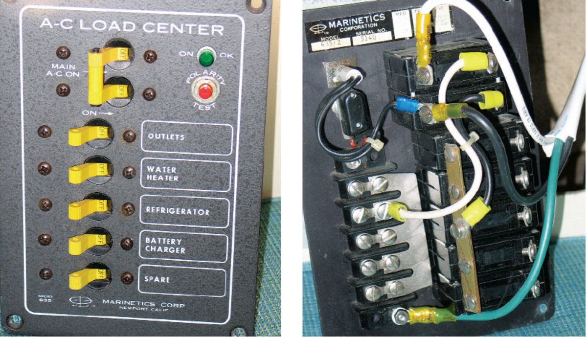 Shore Power Upgrade Sail Magazine 06turnoffcircuitbreakerbox This Older Model Ac Distribution Panel Has A Polarity Tester And An Integral 30 Amp