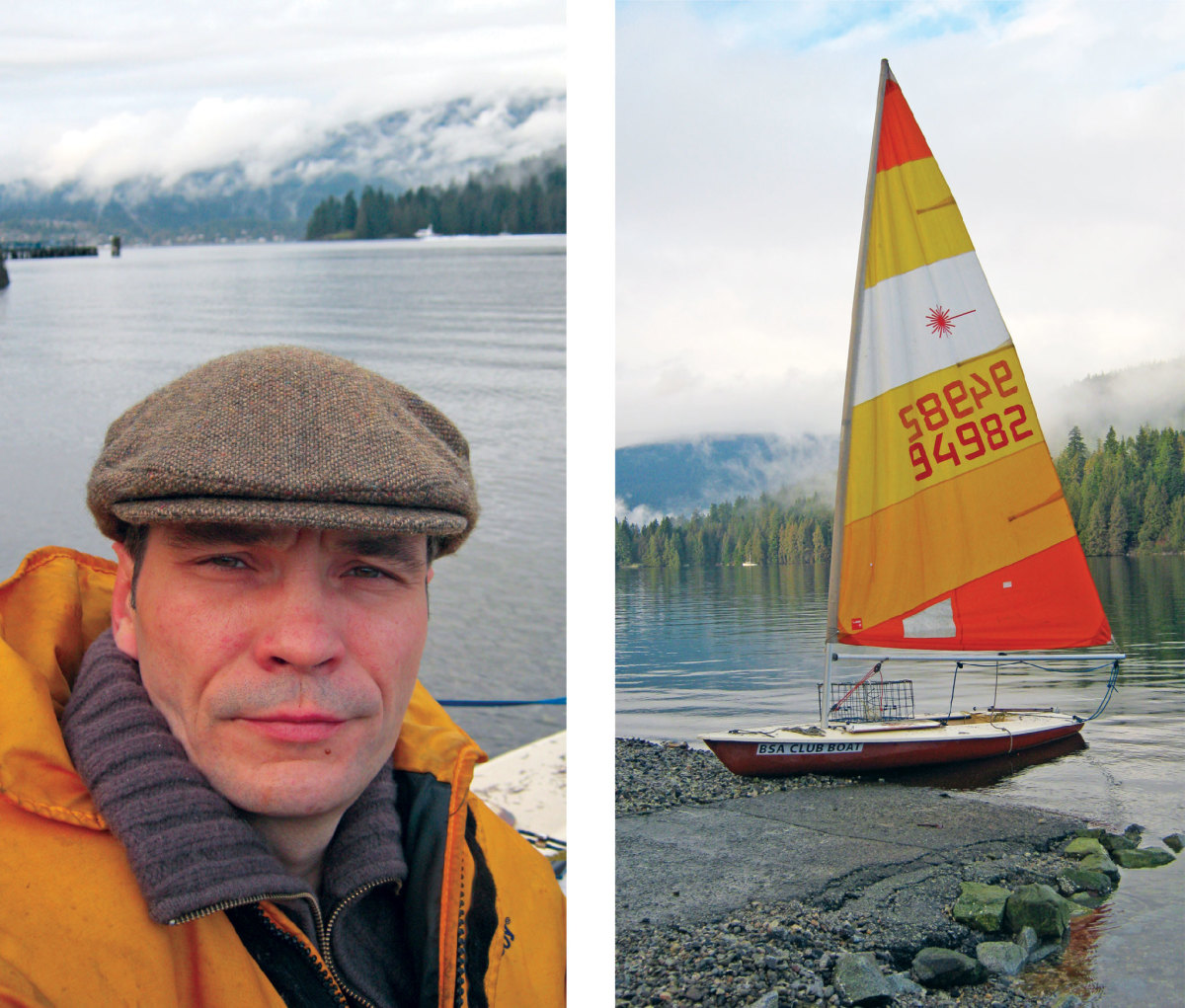 The author onboard his mighty crabbing vessel, a Laser sailboat—an unlikely perfect crabbing vessel