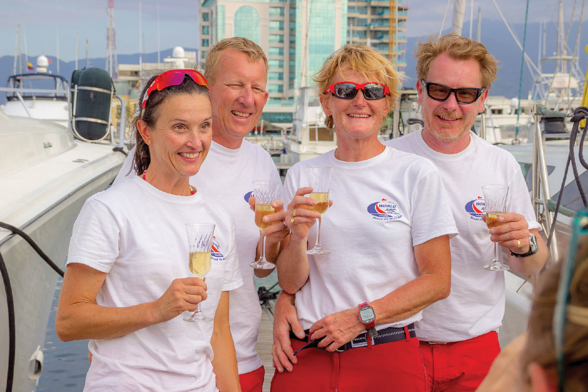 The Spirit V crew (from left) Pia Hultgren, Erik Lindgren, Lena Having and Elvind Bøymo-Malm celebrates a safe and satisfying line-honors finish in Colombia.