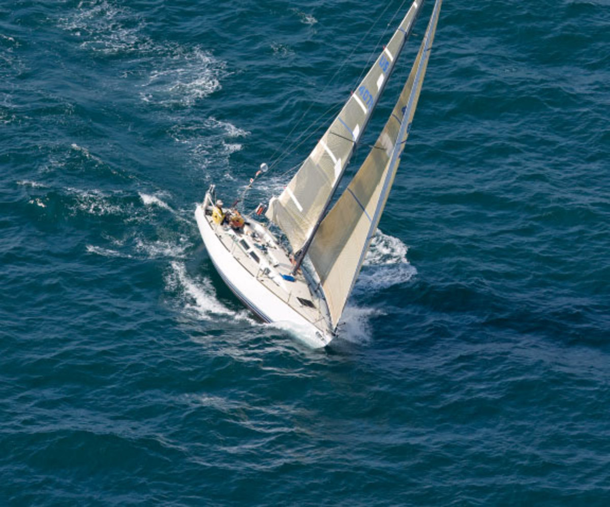 The author's Express 37, Lora Ann, knifes to windward on the way to Bermuda