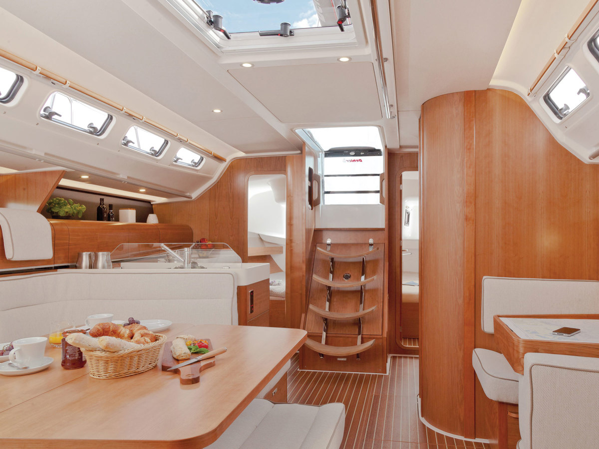 The saloon features an efficient layout and exceptionally clean lines