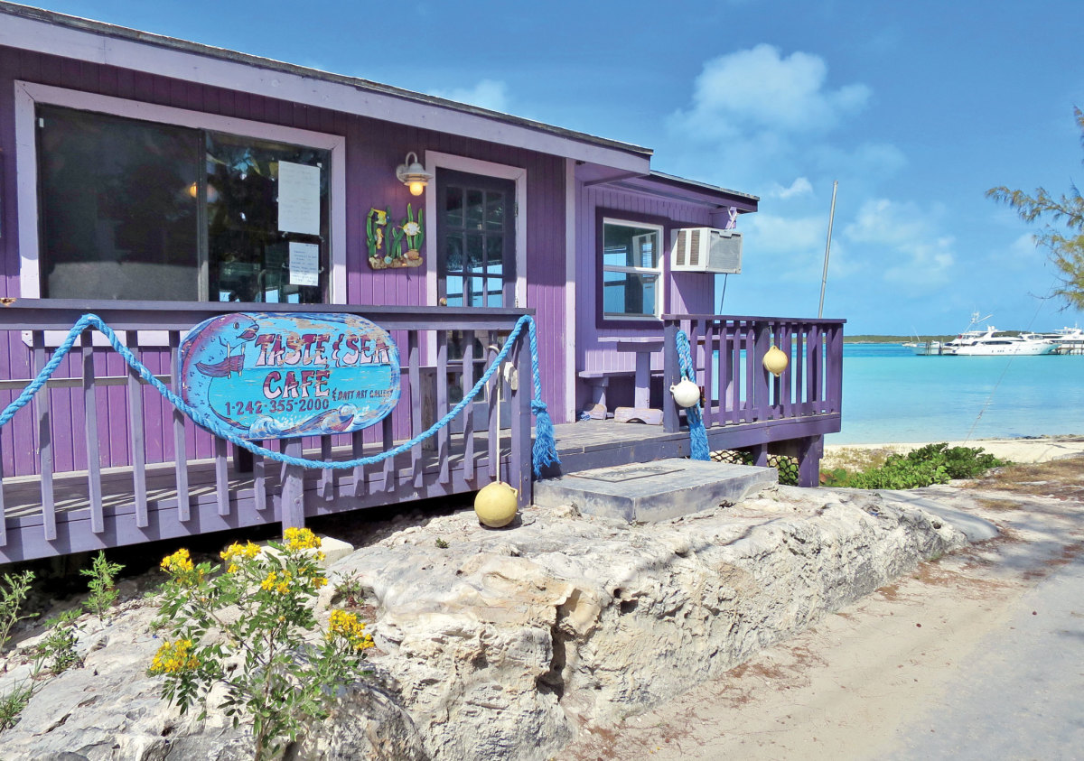 A local café and restaurant in Staniel Cay