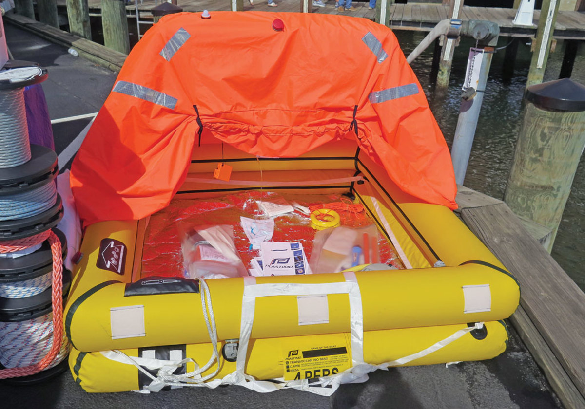A coastal liferaft with its emergency kit on display