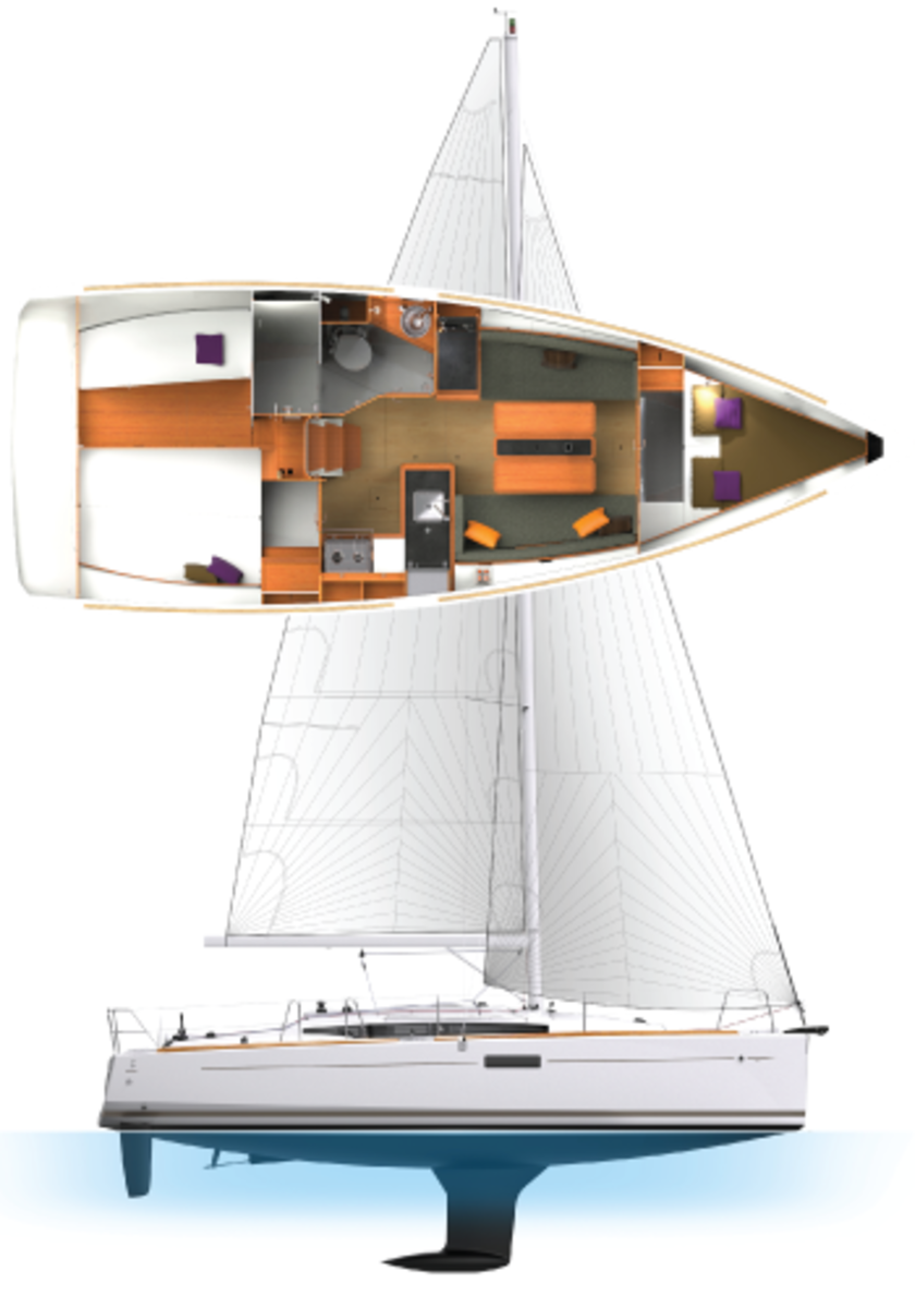 The Sun Odyssey 349 has plenty of volume: note how the two-cabin arrangement leaves room for a large, separate shower stall
