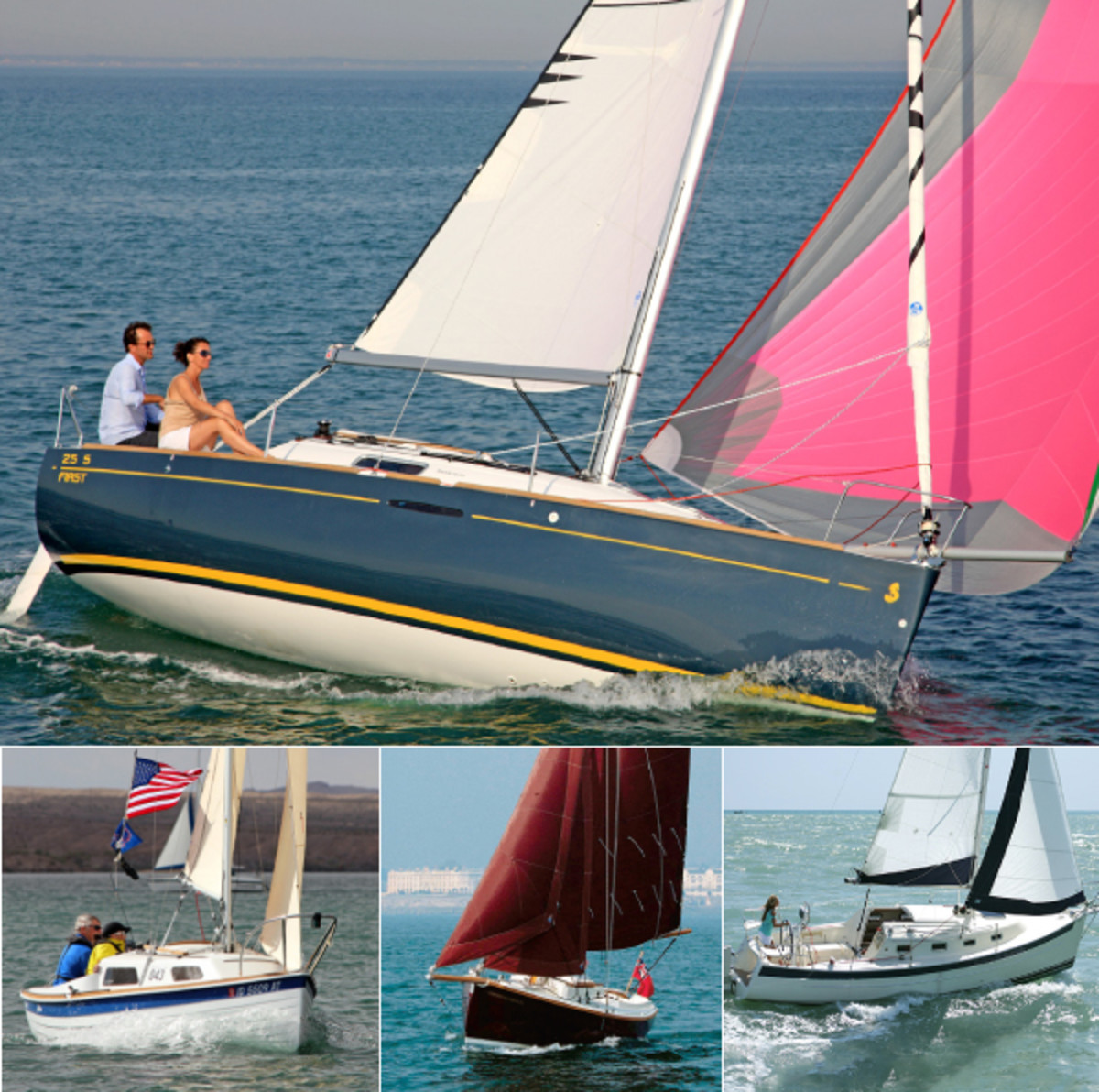 Who says you have to pack it in as the sun goes down? These small boats are as cozy as they are fun: (clockwise from top) the Beneteau First 25 S, the Seaward 26 RK, the Cornish Crabber 2 and the Sage 17