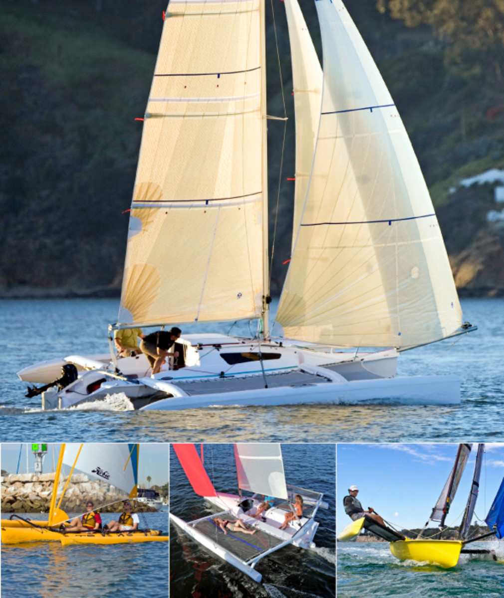 Daysailers with speed and thrills to burn: (clockwise from top) the Corsair 750, Weta, Searail 19 and Hobie Mirage Tandem
