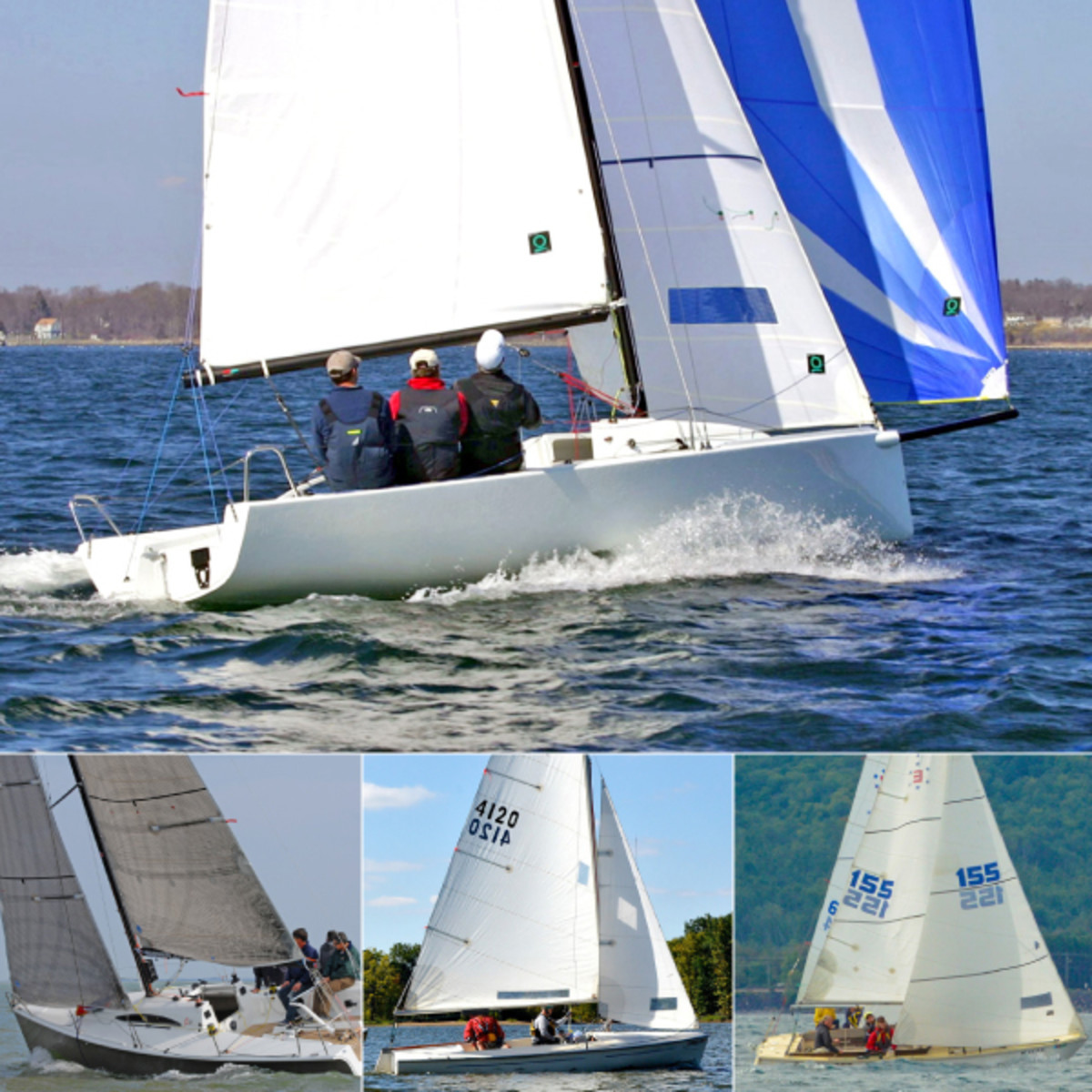 Competitive sailing is only part of what these great little designs have to offer: they are also perfect for just taking a spin on a sunny day: (clockwise from top) the J/70, Ensign, Flying Scot and Archambault 27