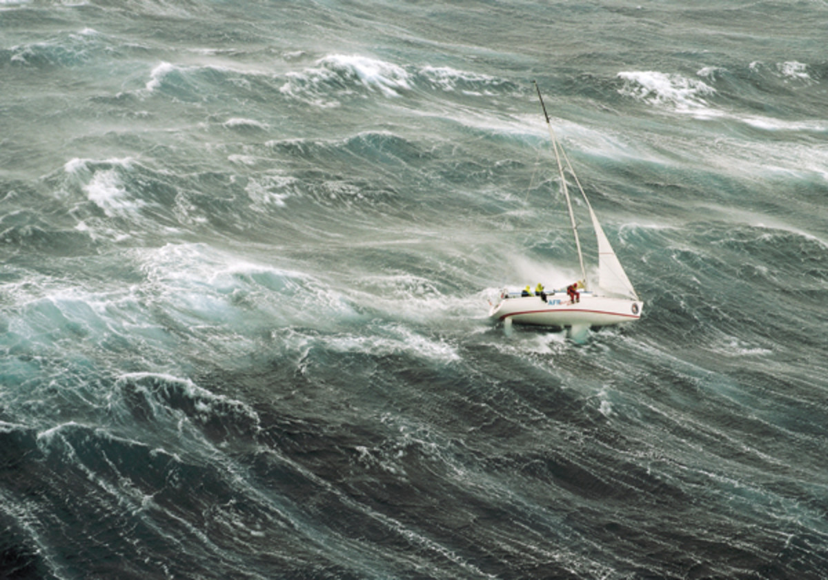 Survival storm conditions in the infamous 1998 Sydney-Hobart Race. Photo courtesy of Richard Bennett