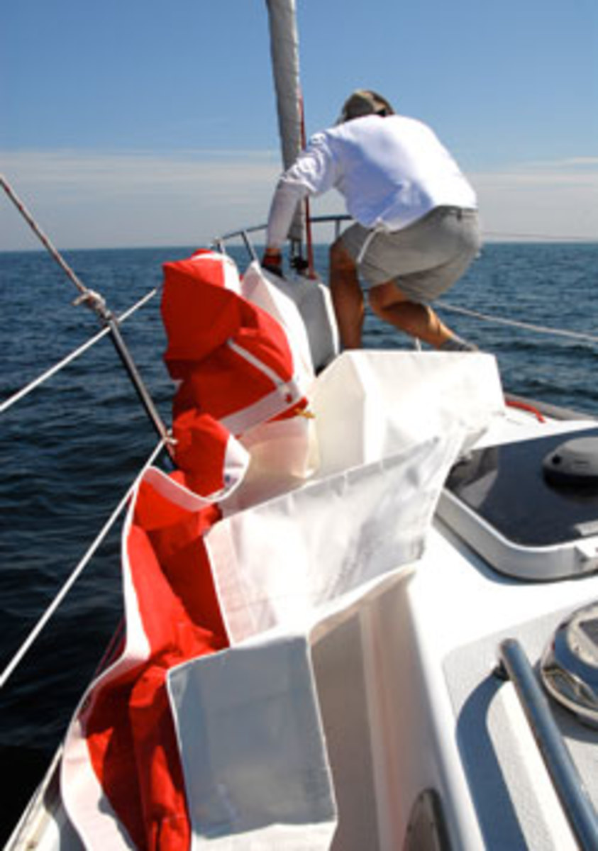 The Gale Sail from ATN is a storm jib that can be set over a furled headsail.