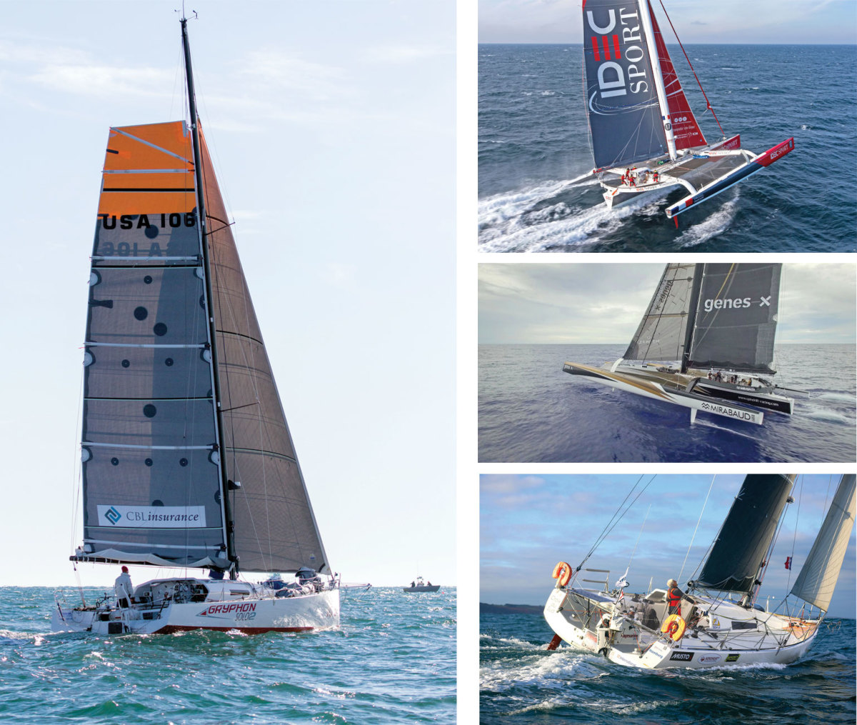 The four speedsters looking to set records included (clockwise from left) GryphonSolo 2, IDEC Sport, Spindrift 2 and Croix du Sud. Photos courtesy of (clockwise from left) Billy Black, JM LIOT/DPPI/IDEC; Yann Riou/Spindrift Racing; by yacht/n Gunter