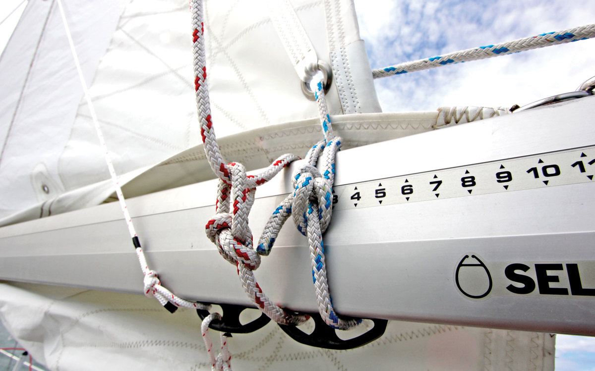 Boom furling keeps the reefed sail's weight low