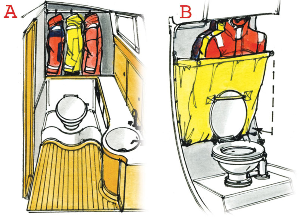 A Some boats have room for a wet locker to be partitioned off in a head and/or shower compartment. B On a smaller boat, a PVC bag with drains in it mounted above the toilet can work. You can clip the bottom of the bag back out of the way when using the toilet.