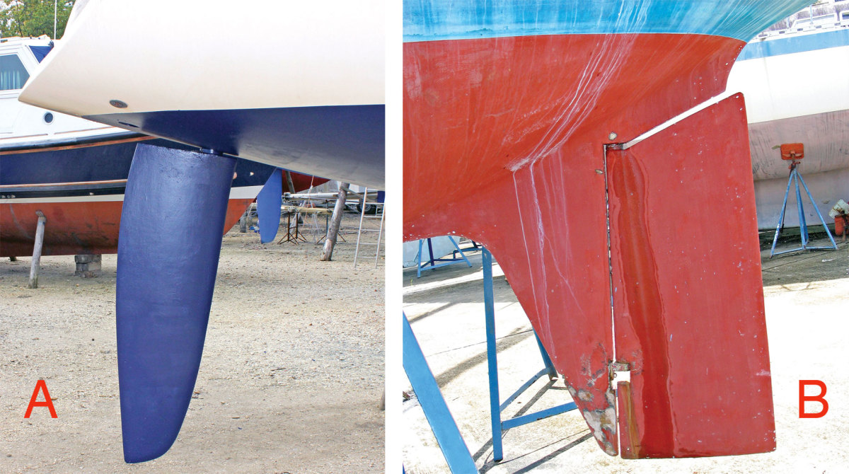 Askeg-hung rudder (A) is less vulnerable than a spade rudder (B)