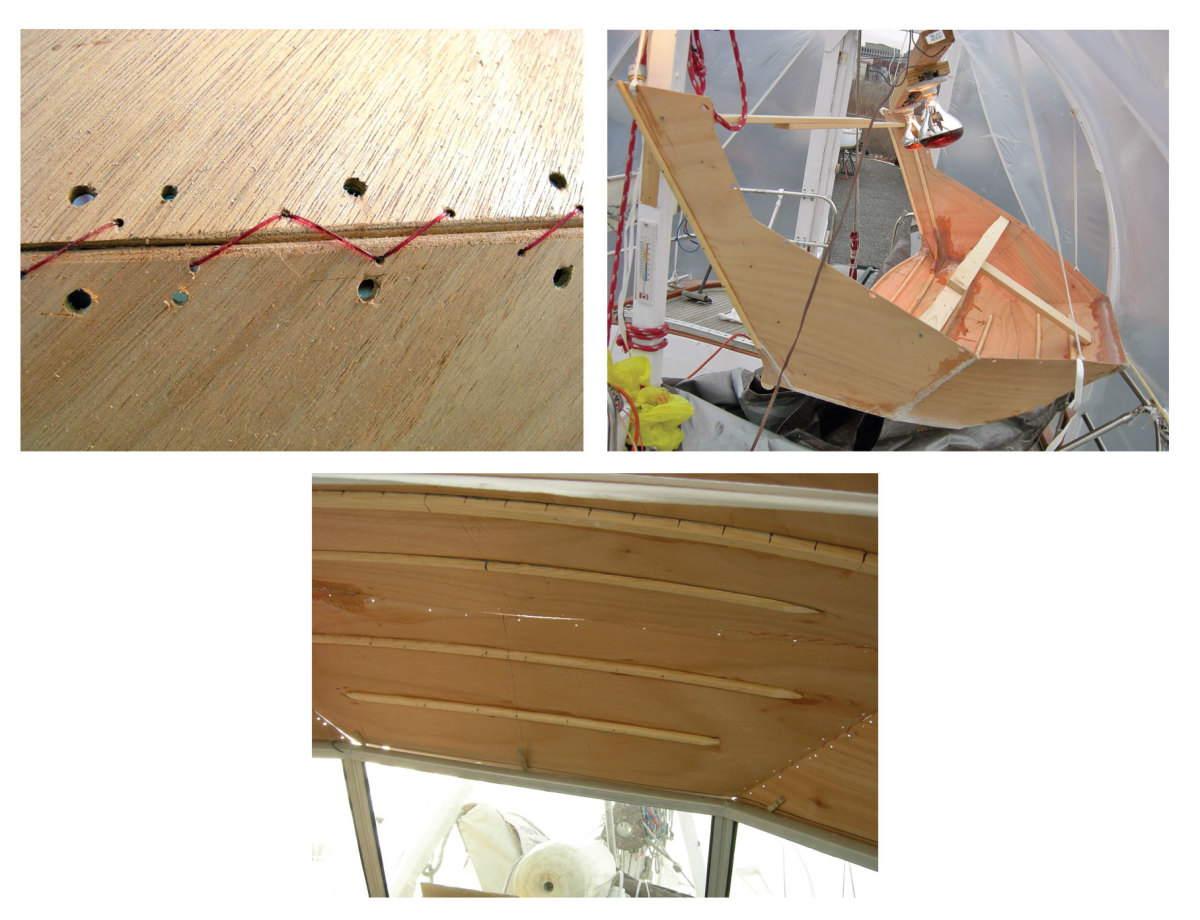 From left: Monofilament fishing line can be used to stitch the plywood pieces together before they are glued; Cardboard templates were used to shape the panels for the dodger; It's important that the dodger be stiff and stable; the author found it necessary to add stringers