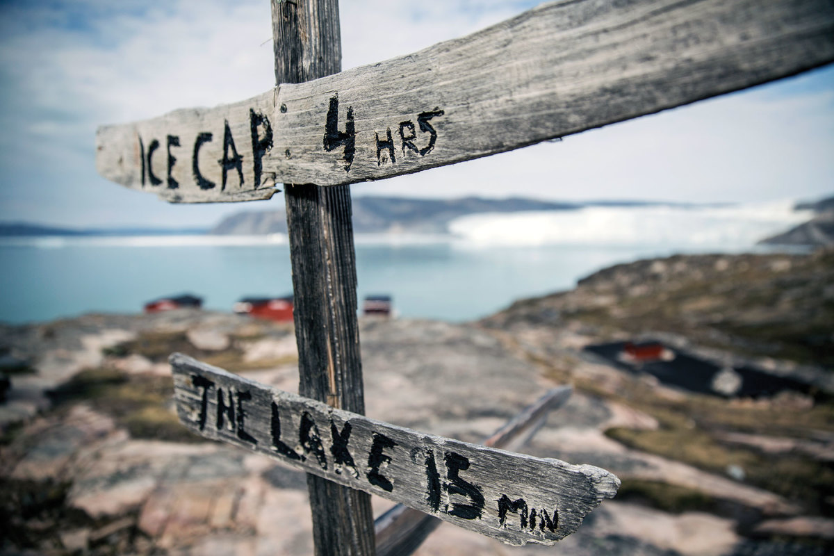 A sign at the Eqi Glacier Lodge in northern Greenland. Photo courtesy of John Spier
